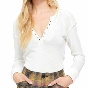 Free People Military Mix Henley Ivory White S